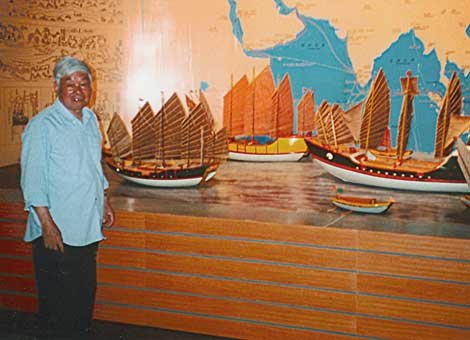 Photo of models of Ming vessels at a maritime museum in Xiamen, China