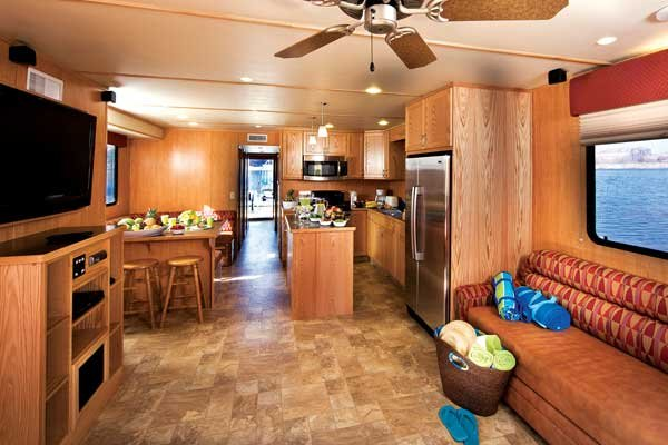 Photo of the interior of a modern houseboat