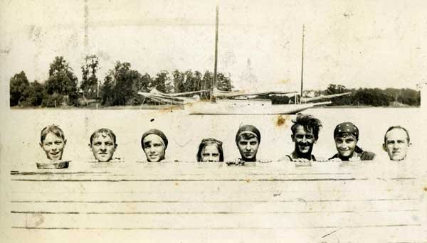 Photo of Kathleen Sammis, sisters and friends bobbing in the water