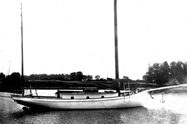 Photo of the Nellie H on the water in a bygone day