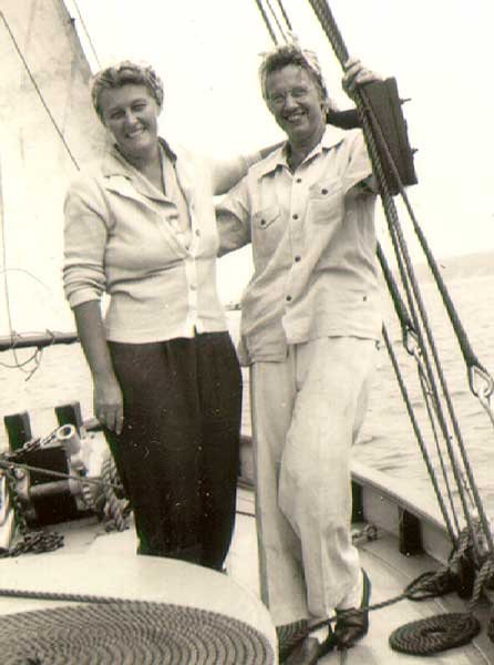 Photo of two ladies posing on the Nellie H in the 1940s