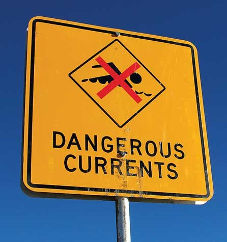 Photo of Dangerous Currents sign