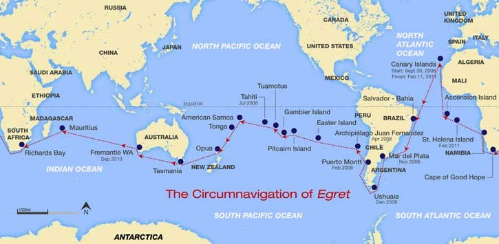 Map of the circumnavigation of the Egret