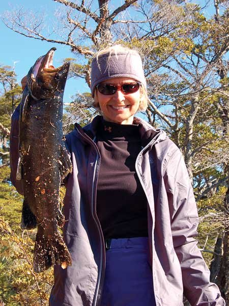 Photo of Mary Flanders with her famous catch in Chile