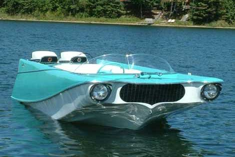 Photo of an aqua car-shaped boat