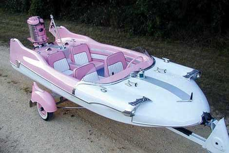 Photo of a pink boat