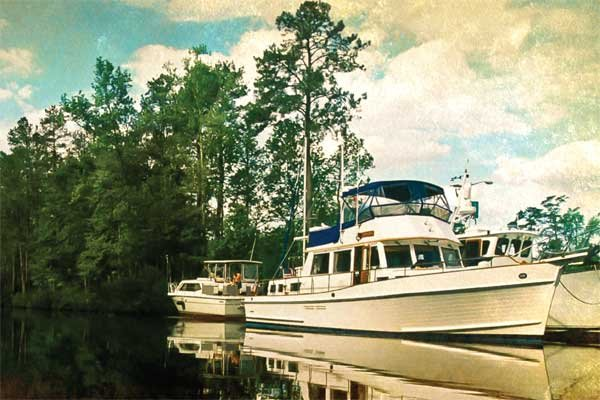 Photo of a Grand Banks 46 Classic tied up on the ICW in North Carolina