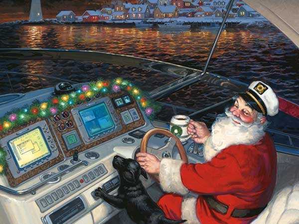 Illustration of Santa Claus driving a powerboat