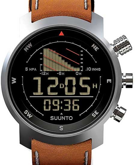 Photo of a waterproof, barometer-equipped wristwatch