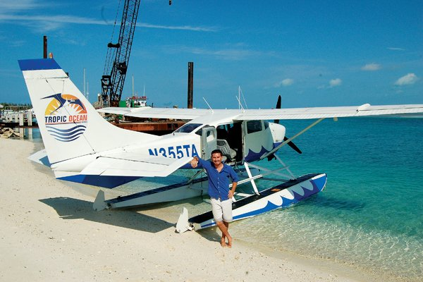 Photo of Pilot Adam Schewitz of Tropic Ocean Airways at the seaplane landing