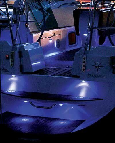 Photo of cockpit courtesy lighting on a sailboat