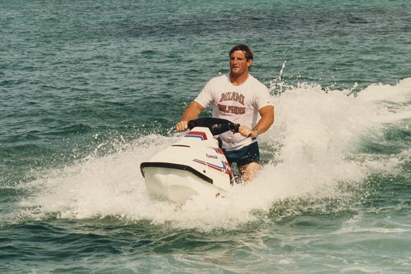 Photo of Bob Baumhower on a jetski in Bimini