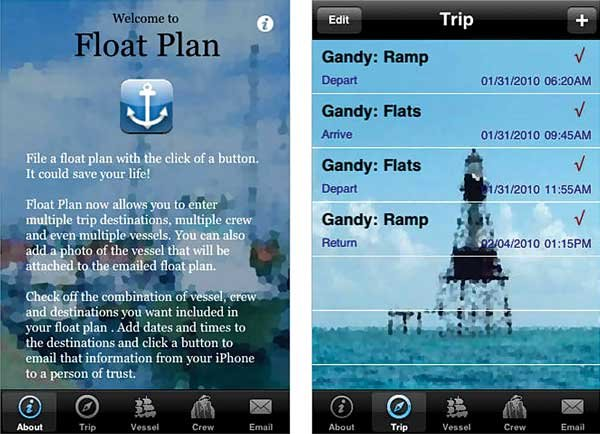 Photo of the Float Plan app