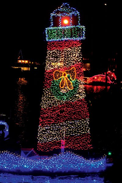 Photo of lighthouse light display on the Sally