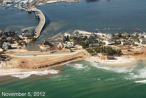 Photo of the Mantoloking, New Jersey coastline on November 5, 2012