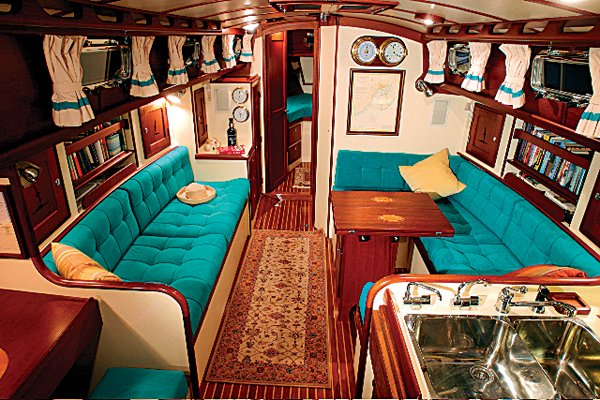 Photo of the decorative interior of a boat