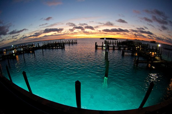 Photo of sunrise over the docks at Bimini Big Game Club