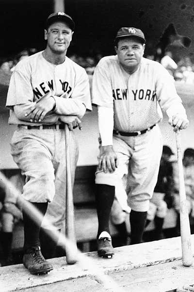 Photo of Babe Ruth and Lou Gehrig in their NY Yankees uniforms