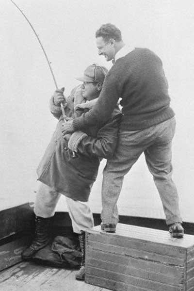 Photo of Babe Ruth and Lou Gehrig fishing