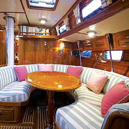Photo of beautifully decorated boat interior