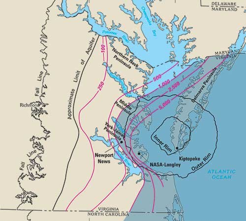 Map of Old Chesapeake Bay crater