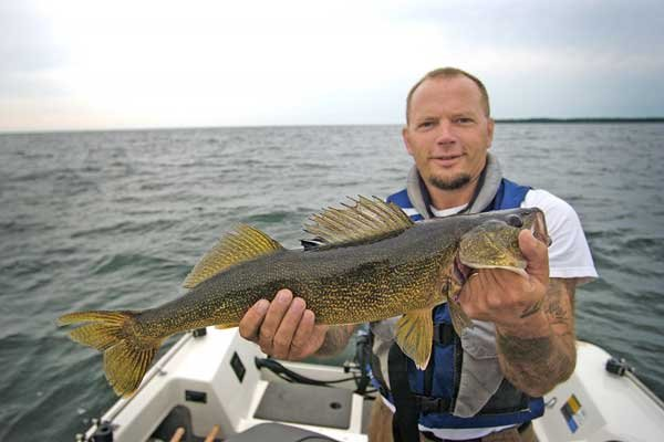 Photo of fishing for walleye on Lake Huron