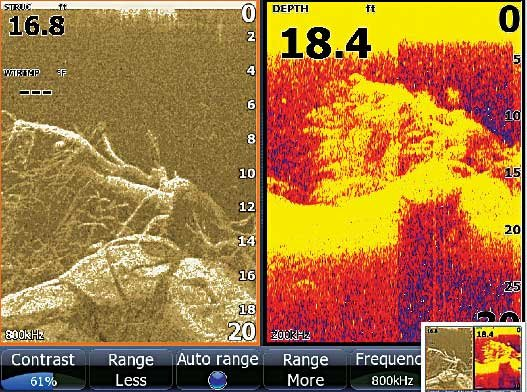 Photo from a sonar scanner imager fishfinder