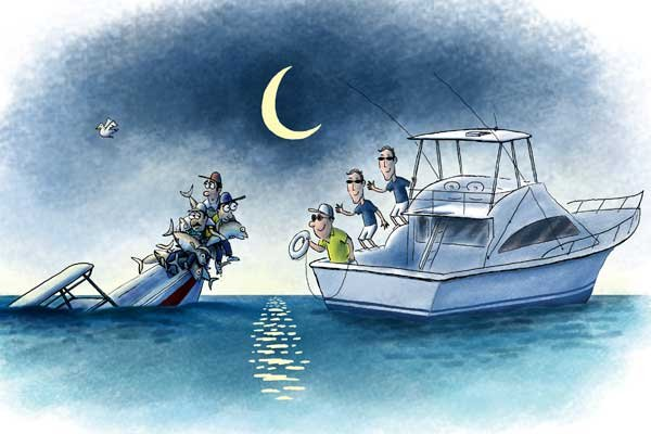 Illustration of tuna boat rescue