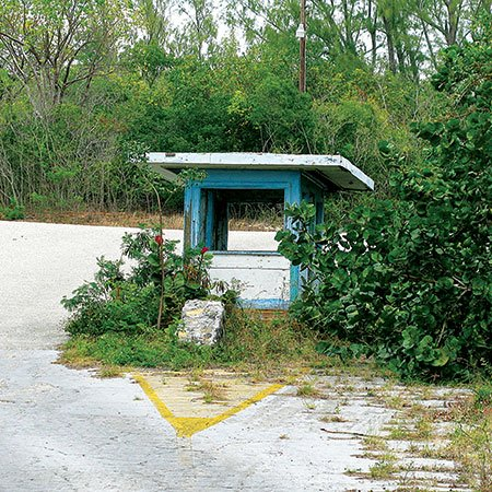 Photo of the defunct entrance to a missle tracking station