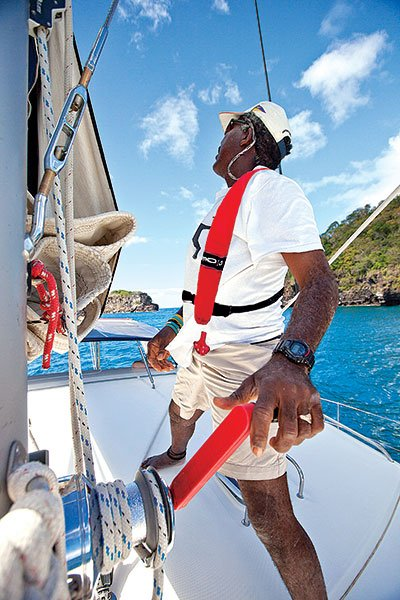 Photo of man learning to sail