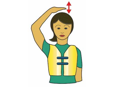 Waterski signal for back in boat illustration