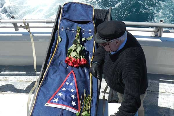 Photo of an at sea burial