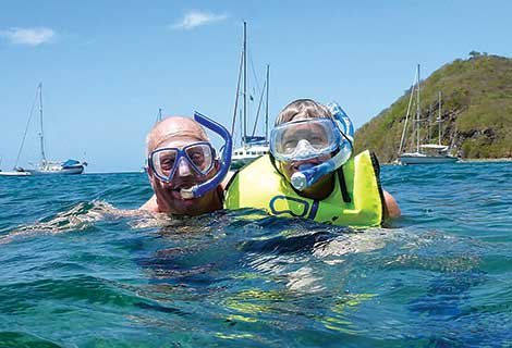 Photo of Steve and Margaret taking a dive