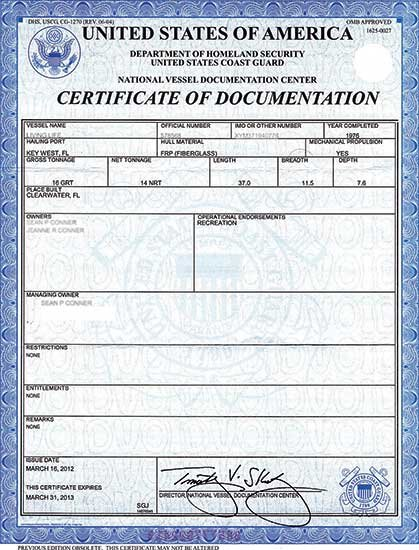 Certificate of Documentation