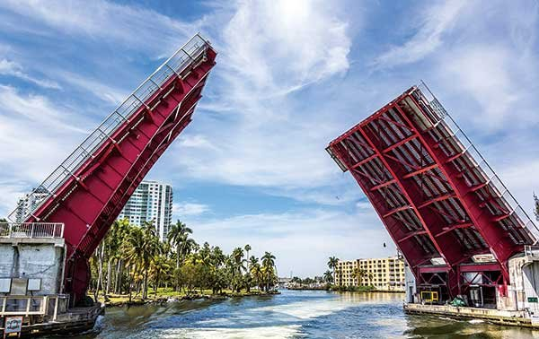 Photo of a drawbridge in the up position