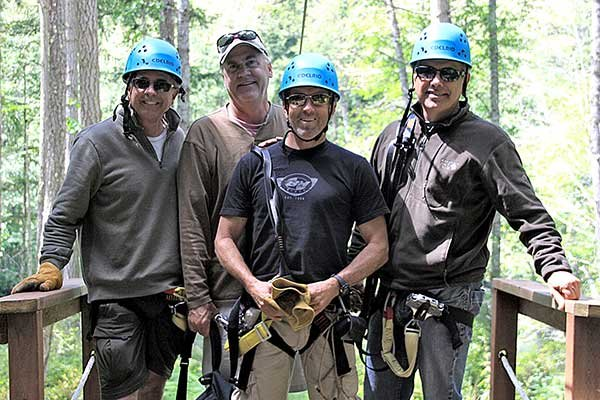 Photo of the guys ready to zipline