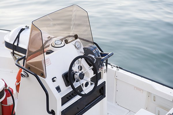 Photo of a polycarbonate boat windshield