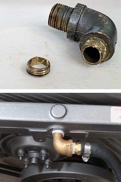 Photo of broken fitting and the results of the repair