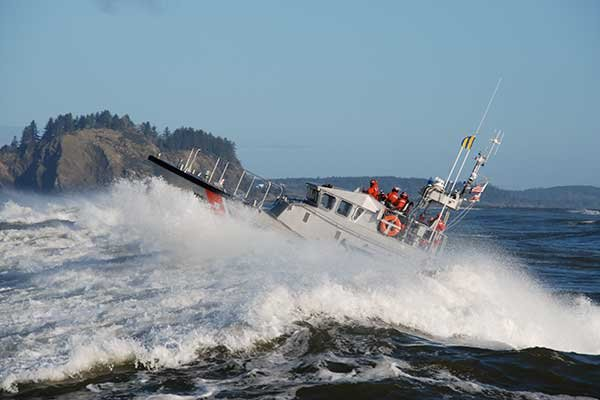 "Photo of USCG ship in the ""Washing Machine"" at Peacock Spit"