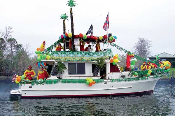 Photo of decorated boat in Krewe of Bilge parade