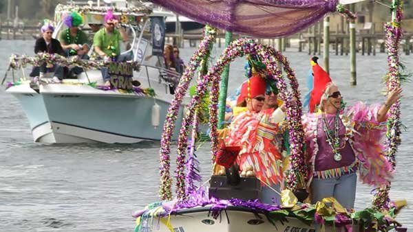 Photo of decorated boat in Mardi Gras parade