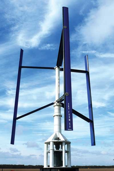 Photo of a vertical axis wind turbine
