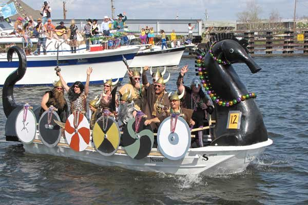 Photo of Viking-themed boat in Mardi Gras parade