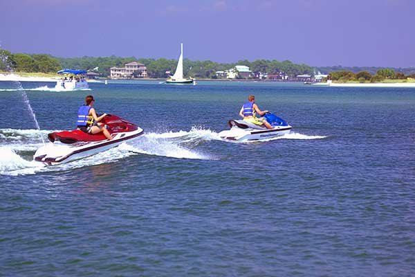 Photo of jet skis in back bay, Orange Beach, Alabama