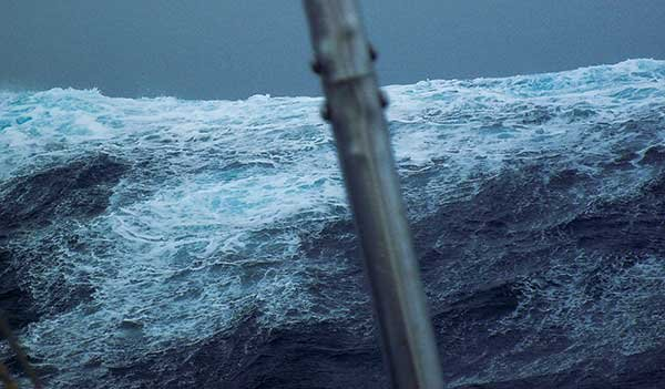 Photo of Matt Rutherford off the coast of Cape Horn