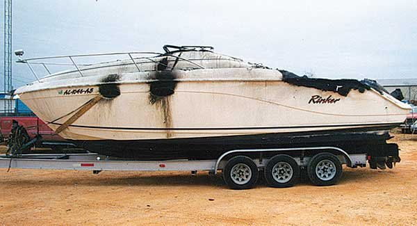 Photo of a burned boat