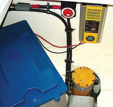 Photo of a dedicated thruster battery and charger installation