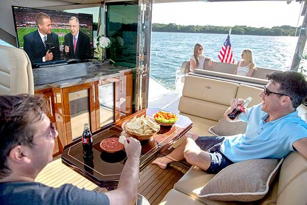 Photo of watching TV on boat