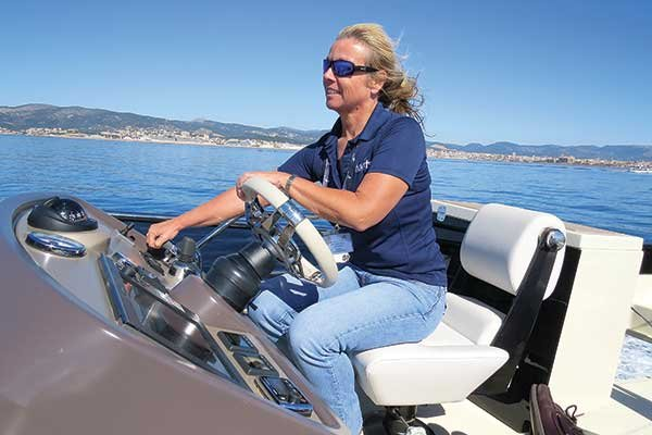 Photo of Zuzana Prochazka at the helm
