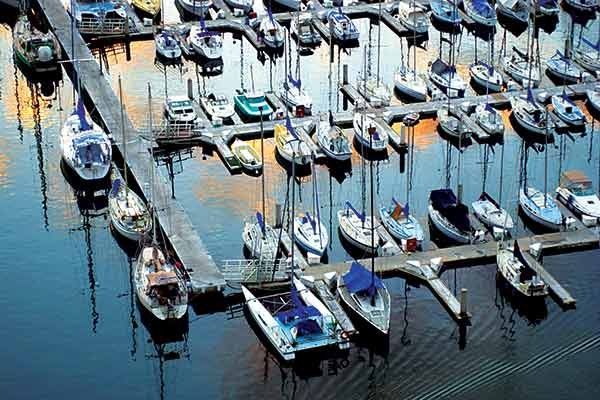 Photo of an aerial view of a marina